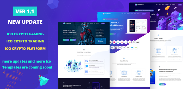 Cryptorica - ICO and Cryptocurrency Template, ico template, ico website, ico landing page, crypto ico, ico launch template, Crypto Illustrations, bitcoin template